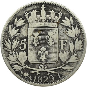 Francja, Karol X, 5 franków 1829 L, Bayonne