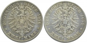 Niemcy, Prusy, Wilhelm II, lot 2 marki 1876 A/C, Berlin/Frankfurt