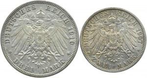 Niemcy, Prusy, Wilhelm II, lot dwóch monet 1907-1910 A, Berlin
