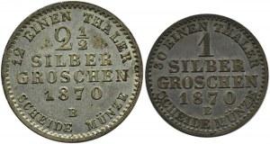 Niemcy, Prusy, Wilhelm I, lot 1 i 2 1/2 grosza 1870 B, Hannover