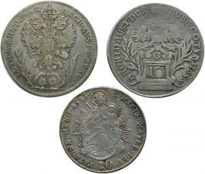 Austria, XIX wiek, lot trzech 10 krajcarówek, Wiedeń, Kremnica