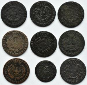 Prusy Południowe, lot miedzianych monet, 9 sztuk