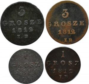 Księstwo Warszawskie, lot 4 groszy 1811-1812, Warszawa