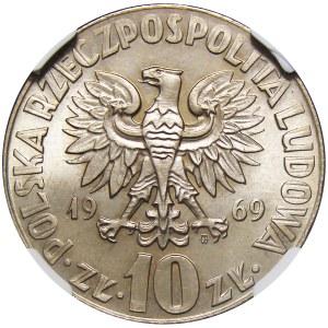Polska, PRL, 10 złotych 1969, M. Kopernik NGC MS66