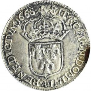Jan II Kazimierz, Żeton/medal Abdykacja króla 1668, srebro, BARDZO RZADKI RRRR!