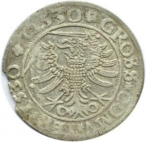 Zygmunt I Stary, grosz 1530, Toruń, RZADKOŚĆ PODWÓJNA DATA W OTOKU