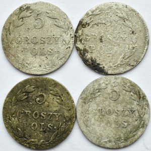 Aleksander I/Mikołaj I, lot 5-groszówek 1819-1829, Warszawa