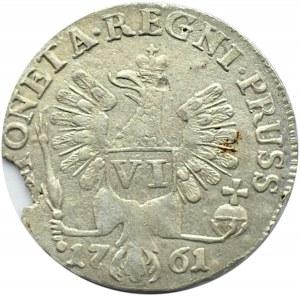 Rosja, Elżbieta II, okupacja Prus, szóstak 1761, Królewiec, Bitkin R1, piękny!