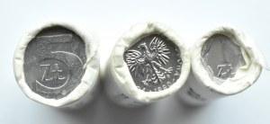 Polska, III RP, 1-5 złotych 1990, rolki bankowe 3X50 sztuk, Warszawa, UNC