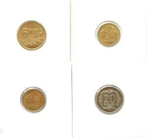 Polska, III RP, destrukty-odwrotki, lot 4 monet od 1 - 20 groszy, Warszawa, UNC
