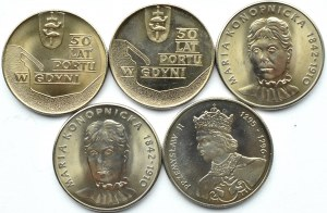Polska, PRL, lot 5 menniczych monet, Warszawa