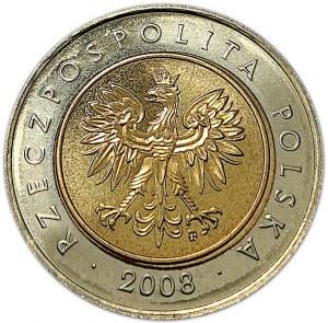 Polska, III RP, 5 złotych 2008, Warszawa, UNC (1)