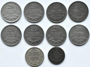 Austria/Węgry, Franciszek Józef I/Karol, lot drobnych monet dla Węgier