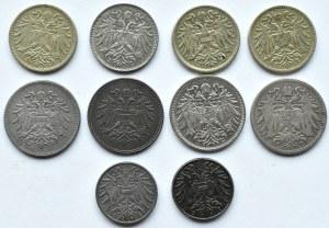 Austria/Węgry, Franciszek Józef I/Karol, lot drobnych monet dla Austrii