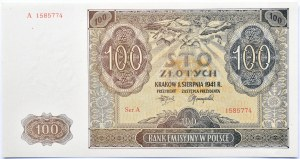 Polska, Generalna Gubernia, 100 złotych 1941, seria A, UNC