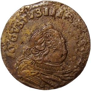 August III Sas, grosz miedziany 1755, Gubin, piękny