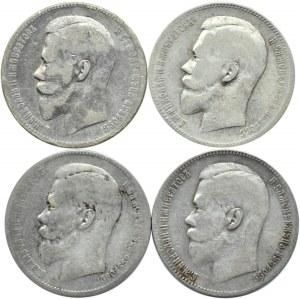 Rosja, Mikołaj II, lot czterech rubli 1897-99, Bruksela/Petersburg