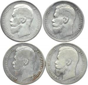 Rosja, Mikołaj II, lot czterech rubli 1897-98, Bruksela/Petersburg