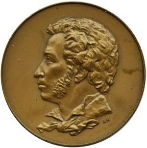 Rosja Radziecka, medal Aleksander Puszkin 1799-1837, brąz