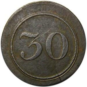 Polska, XIX wiek, Dominium Werbkowice, żeton dominialny z nominałem 30