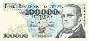 Polska, 100000 złotych 1990, seria AA, Warszawa, UNC
