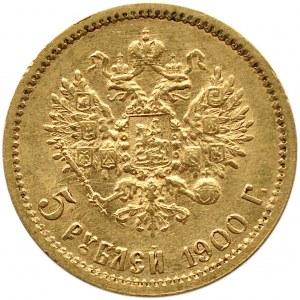 Rosja, Mikołaj II, 5 rubli 1900 AG, Petersburg