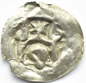 Brakteat, głowa, łuk nad nią i gwiazda, II połowa XII wiek