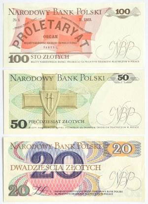 Polska, PRL, lot banknotów 20-100 złotych (2), UNC