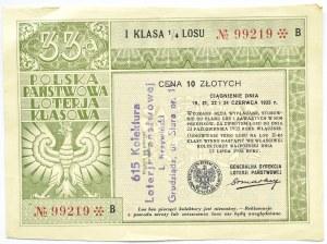 Polska, II RP, los - 33-cia Polska Państwowa Loteria Klasowa, seria B