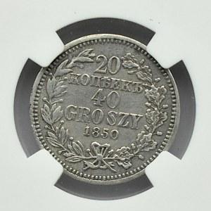 Mikołaj I, 20 kopiejek/40 groszy 1850 MW, Warszawa, NGC XF