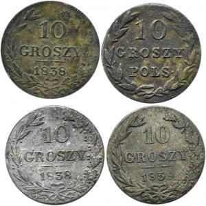 Mikołaj I, lot 10 groszy 1830 KG-1839 MW, 4 sztuki, Warszawa, rzadsze roczniki