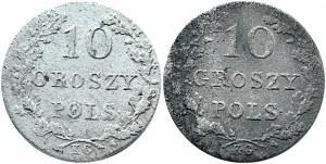 Powstanie Listopadowe, 10 groszy 1831 K.G., Warszawa - 2 sztuki, różne