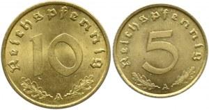 Niemcy, III Rzesza, lot 5 i 10 pfennig 1938 A, Berlin, UNC