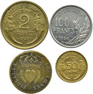 Francja, lot monet frankowych i żeton Ludwika XVIII-ego