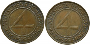 Niemcy, Republika Weimarska, lot 4 pfennig 1932 A i F, Berlin/Stuttgart