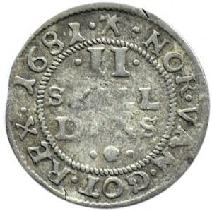 Dania, Christian V, 2 skilling 1681