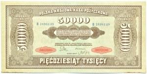 Polska, II RP, 50 000 marek 1922, seria B 3898149, UNC-