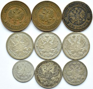 Rosja, Mikołaj II, lot kopiejek, 9 sztuk, srebro i miedź