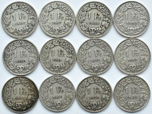 Szwajcaria, lot franków 1906-1931 B, Berno (1)