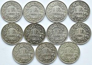 Szwajcaria, lot franków 1920-1953 B, Berno (2)