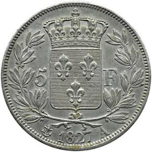 Francja, Karol X, 5 franków 1827 A, Paryż