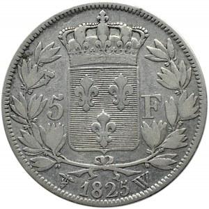 Francja, Karol X, 5 franków 1825 W, Lille