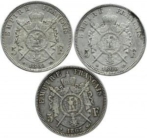 Francja, Napoleon III, lot 5 franków 1867-69 BB, Strasburg