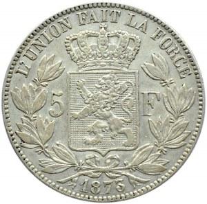Belgia, Leopold II (1865-1909), 5 franków 1873, Bruksela