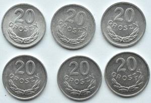 Polska, PRL, lot sześciu sztuk 20 groszy 1965-1973, Warszawa
