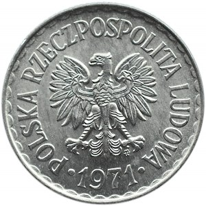 Polska, PRL, 1 złoty 1971 ze znakiem, Warszawa, UNC