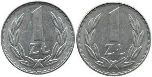 Polska, PRL, lot 1 złoty 1978 dwie odmiany, UNC