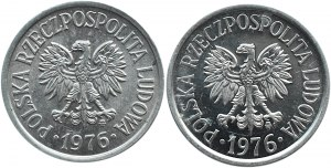 Polska, PRL, 20 groszy 1976 - dwie odmiany, mała i duża data, Warszawa, UNC