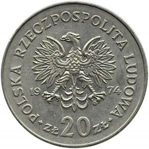 Polska, PRL, Marceli Nowotko, 20 złotych 1974, Warszawa, MAŁY ORZEŁ - typ C, bardzo rzadkie