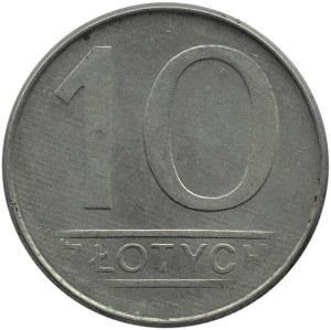 Polska, PRL, 10 złotych 1987, zapchany stempel, częściowy brak ząbkowania rantu